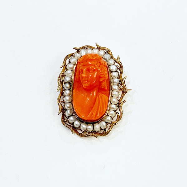 Estate Collection Brooch - Victorian Coral and Seed Pearl