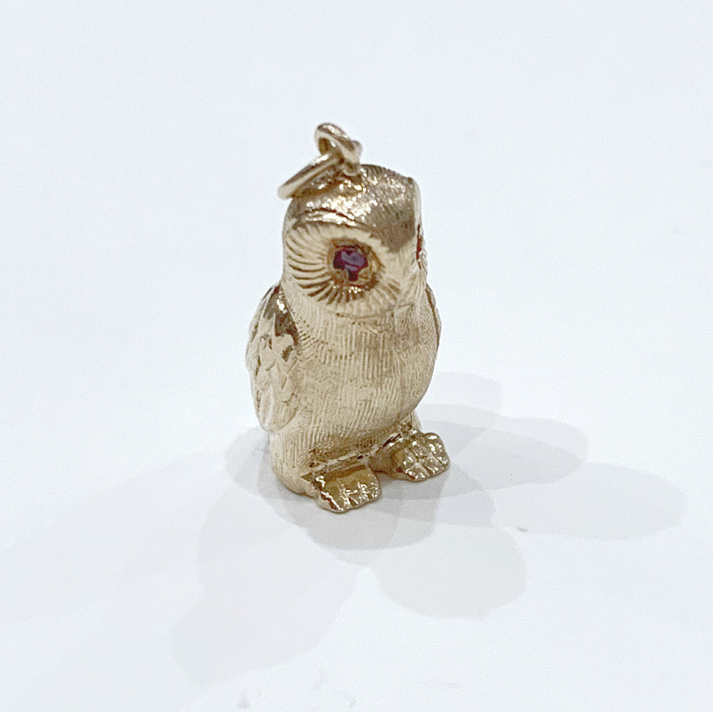Estate Collection Charm - 14K Yellow Gold Owl