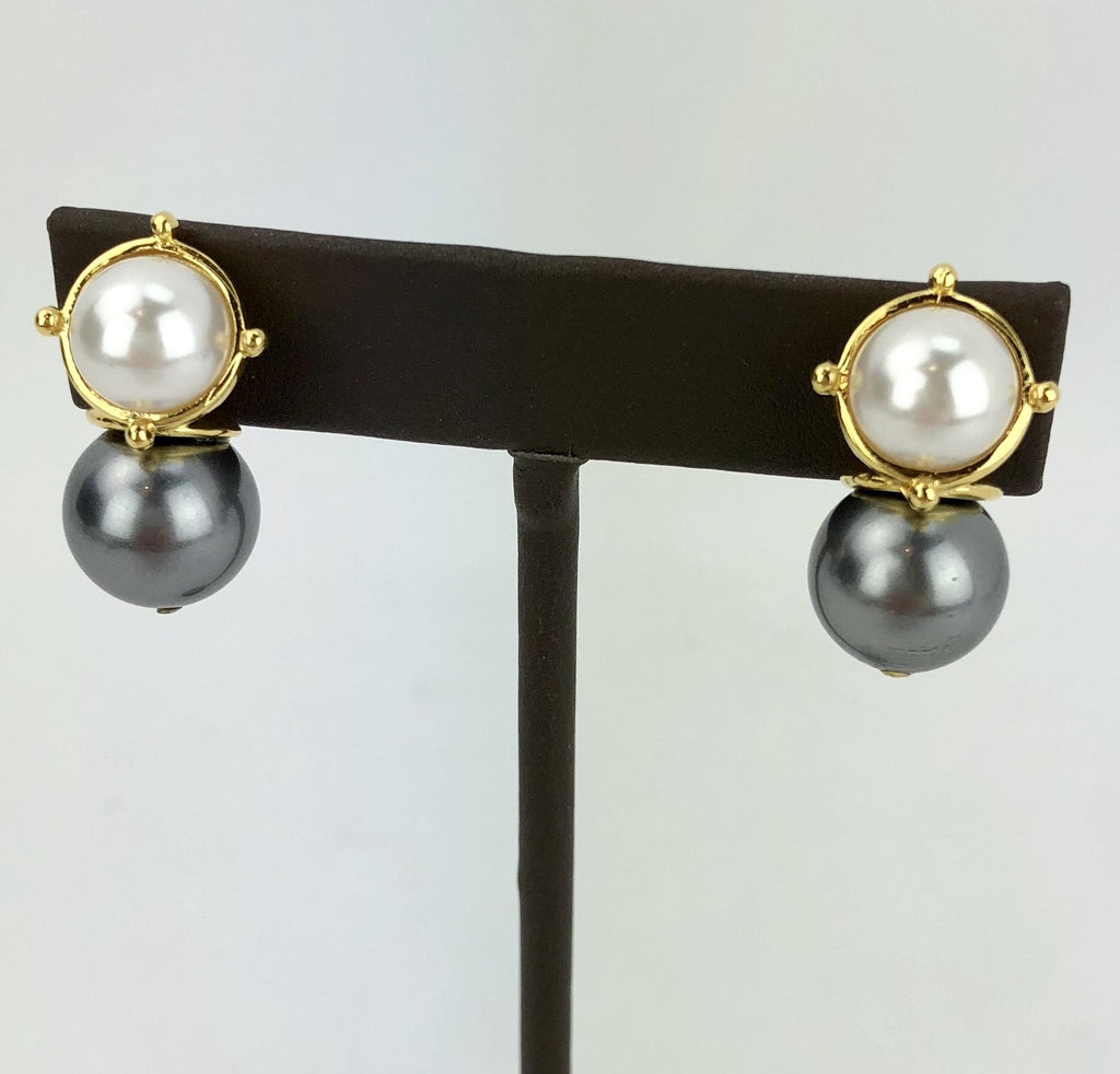 Mabe Mother of Pearl & Semi Precious Stone Scoop Drop Ear Post Earring