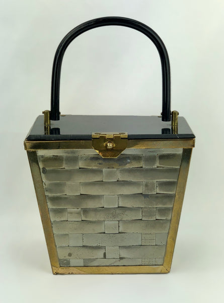 Estate Collection Vintage Silver Metal Weave Box Style Purse