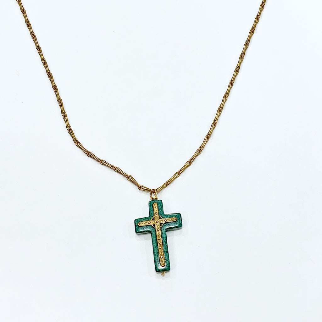 Bronze Cross on Green Magnesite on a Vintage Chain