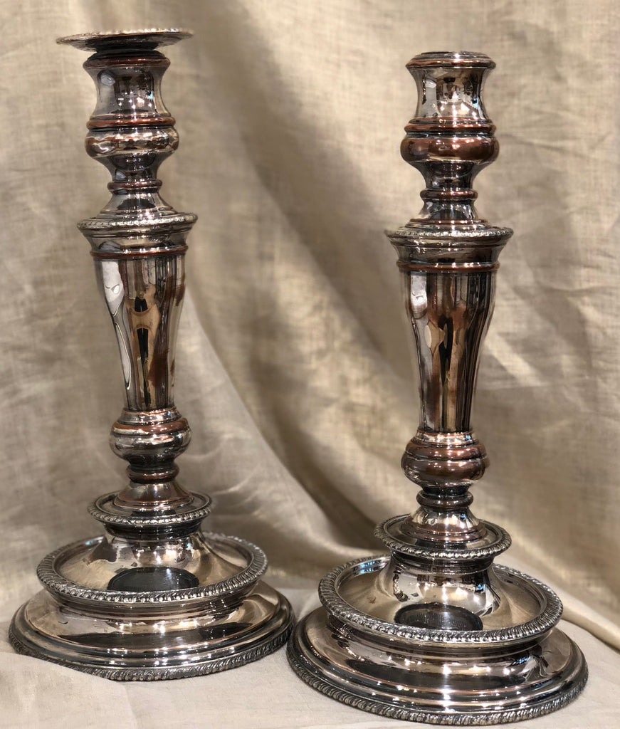 Estate Collection Pair of Baluster Sheffield Plate Candlesticks