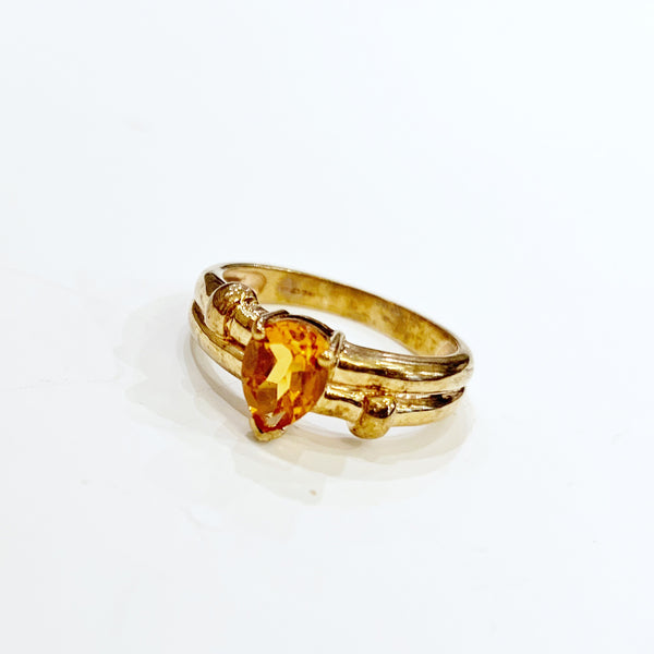 Estate Collection Ring - Citrine Pear Shape 9K Gold