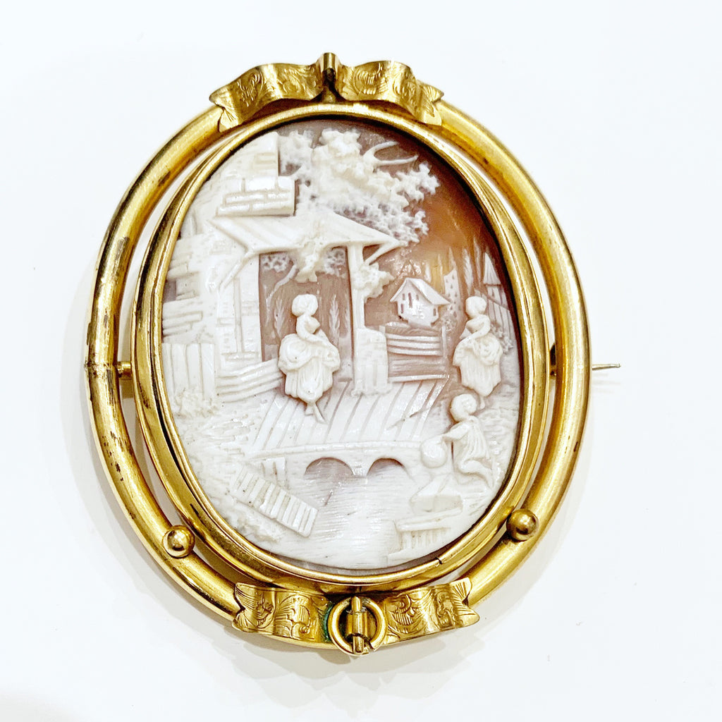 Estate Collection Cameo - (England) Rolled Gold Swivel Brooch