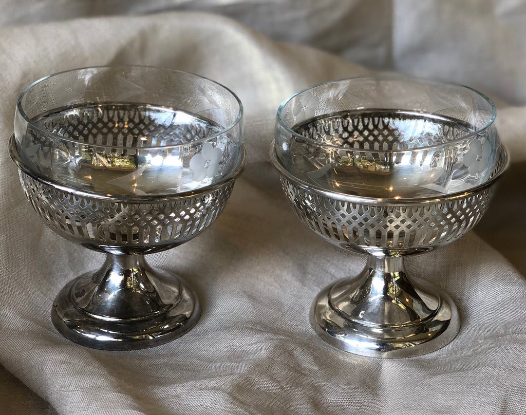 Estate Collection Pair of Sherbert Cups w/Etched Glass Inserts