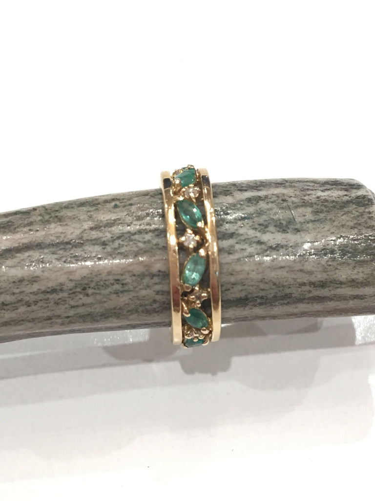 Estate Collection Early 20th Century Marquis-Shaped Emeralds and Single Cut Diamonds