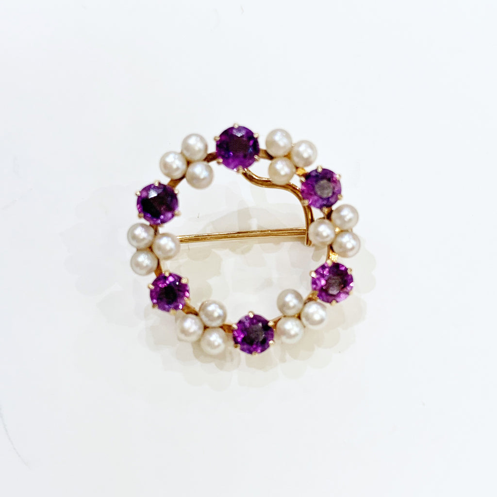 Estate Collection Brooch - Vintage 14K Yellow Gold, Amethyst and Seed Pearl