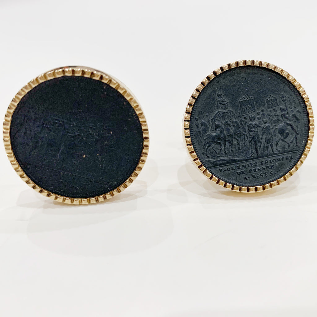 Estate Collection Cufflinks - Antique 14K Lava Cameo
