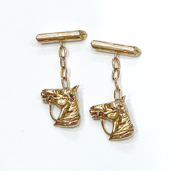 Estate Collection Cufflinks - Vintage French 18K Gold Filled Equestrian