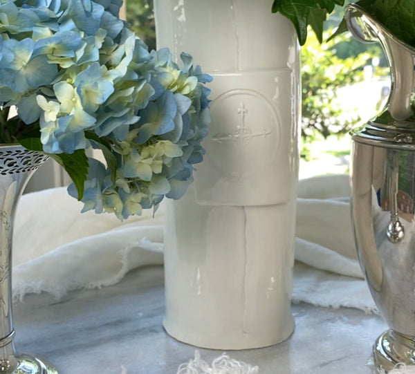 "Handmade 6""H White Cross Vase"