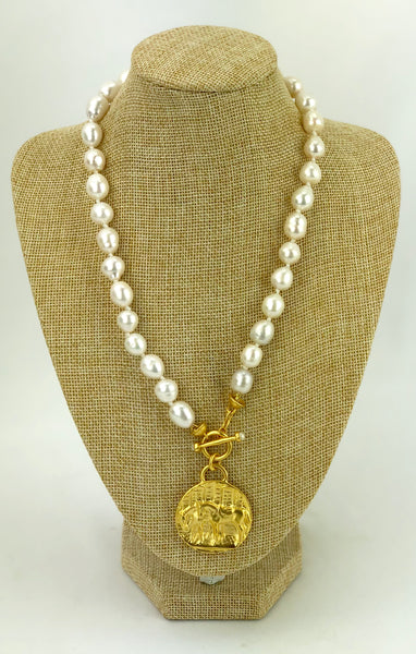 Large Equestrian Medallion on Knotted Fresh Water Pearl Necklace