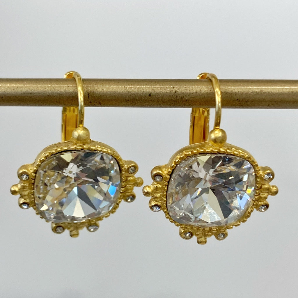 Gold Earrings w/Square Stone