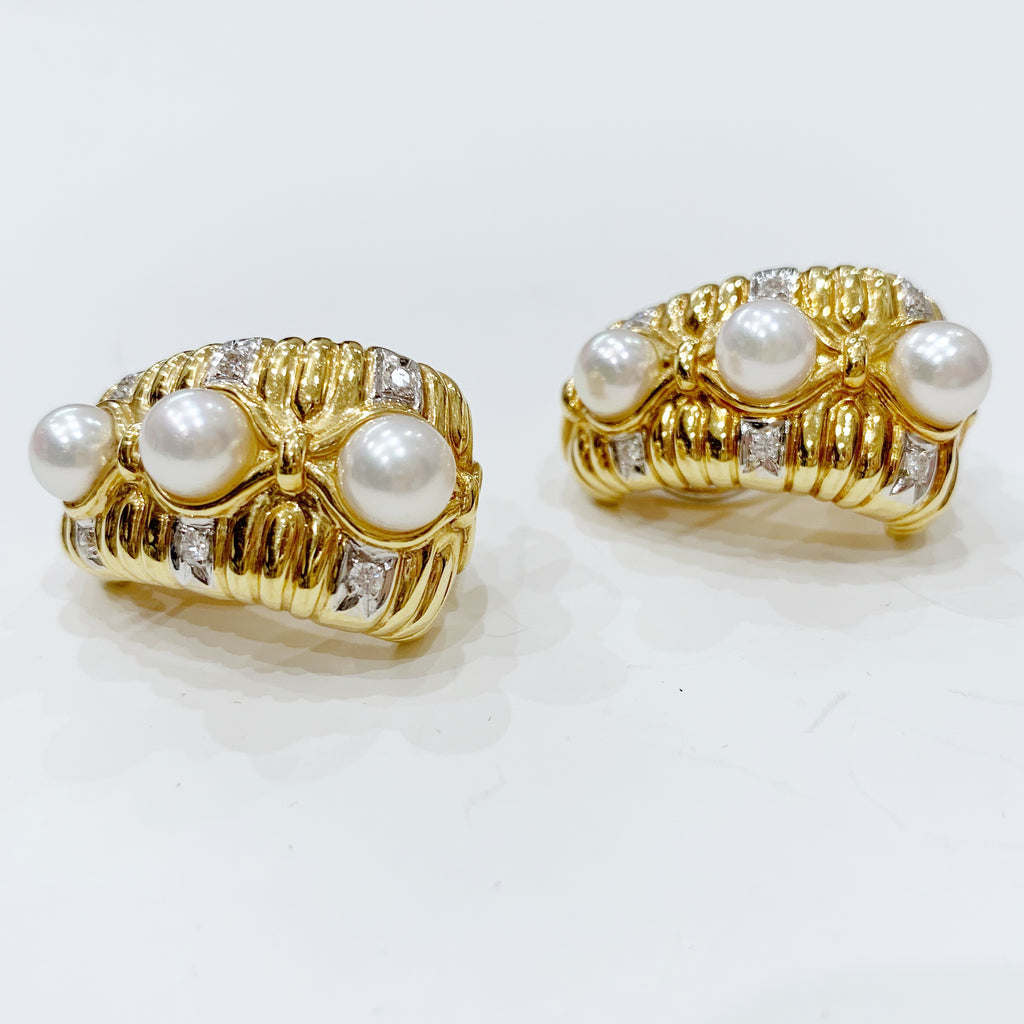 Estate Collection Earrings - Vintage 18K Yellow Gold Diamond & Pearl