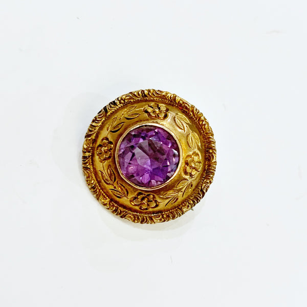 Estate Collection Brooch - Amethyst w/Gold Floral Surround