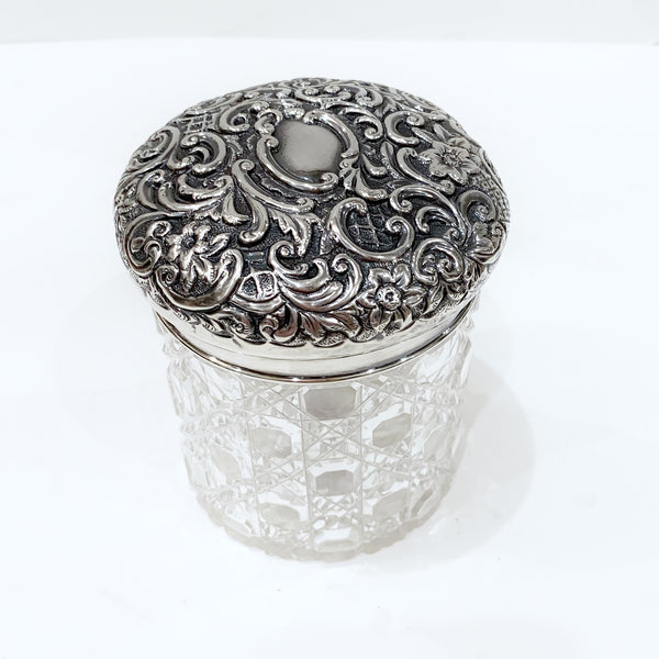 Estate Collection Vanity Jar -  Edwardian Repousse Cut Glass