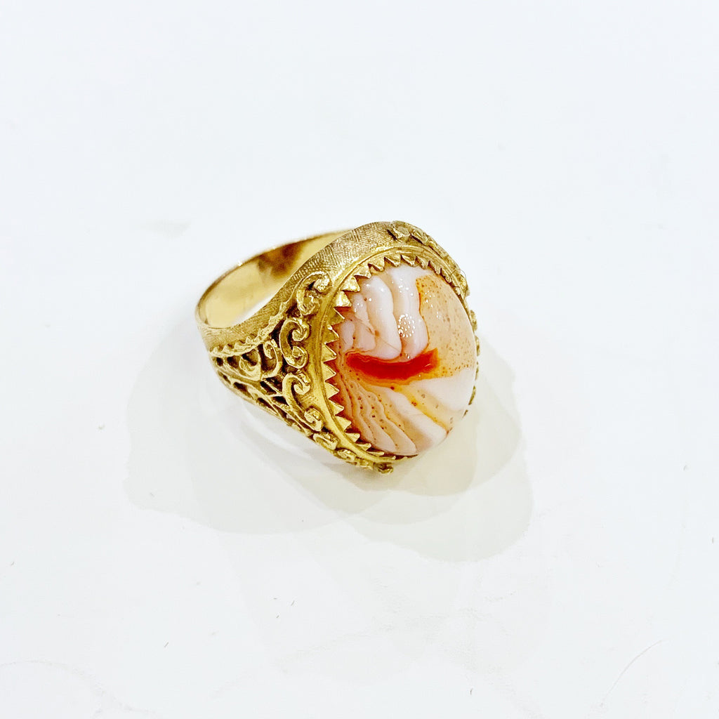 Estate Collection Ring - 18K Yellow Gold/Cabochon Jasper