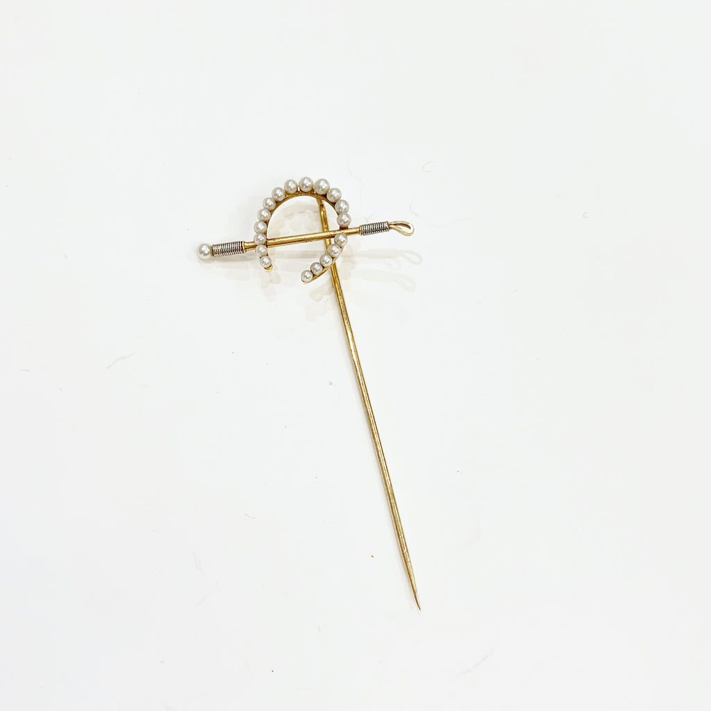 Estate Collection Brooch - Stickpin Seed Pearl & Yellow Gold Horseshoe & Riding Crop