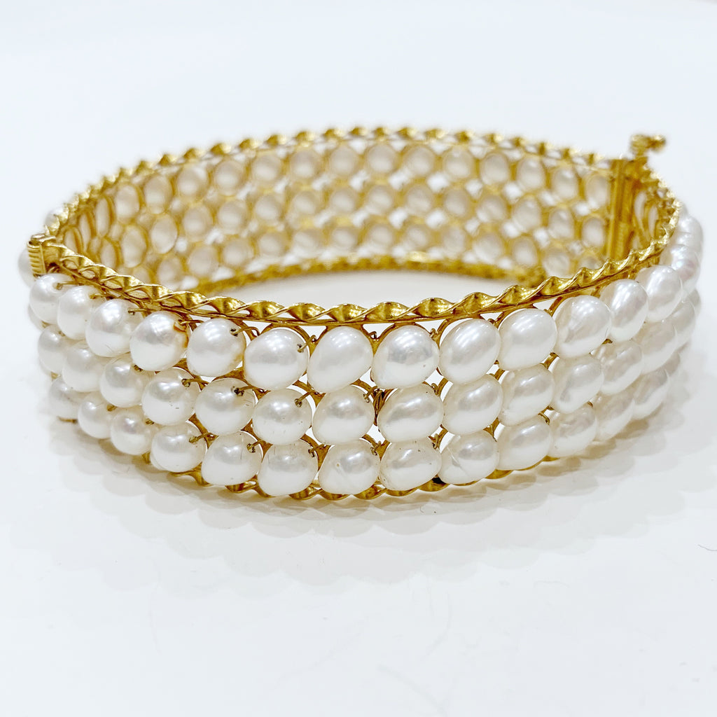 Estate Collection Bracelet - Vintage Cultured Pearl & Yellow Gold Bangle