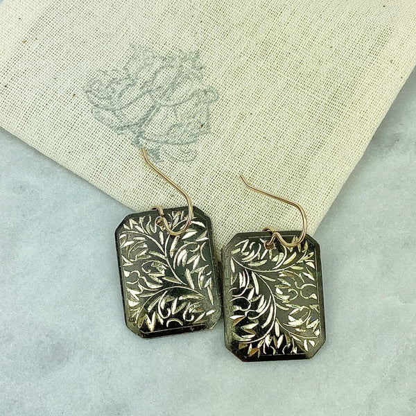 Antique Sterling Oxidized Cufflink Earrings