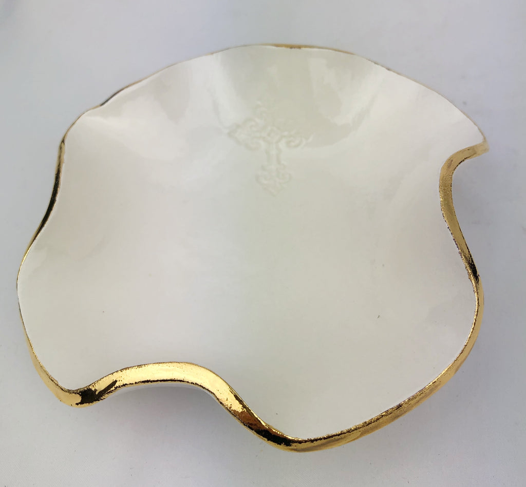 Handmade Abstract Gold Trimmed Bowl w/Cross Detail 5""