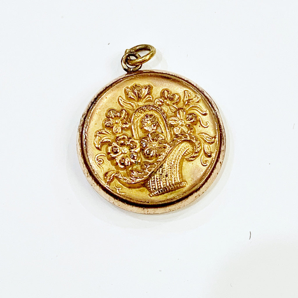 Estate Collection Locket - Gold with Floral Basket on Front