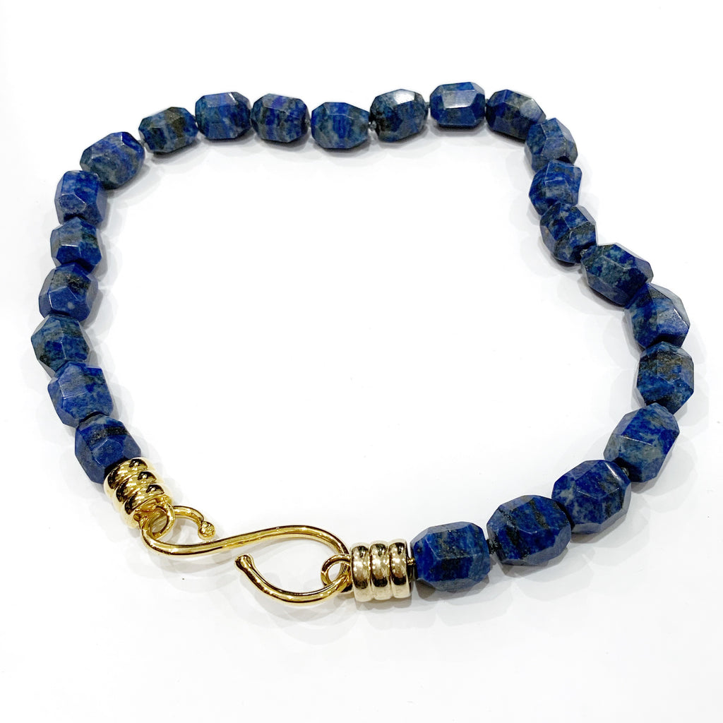Lapis Chunky Nugget Necklace with S Hook