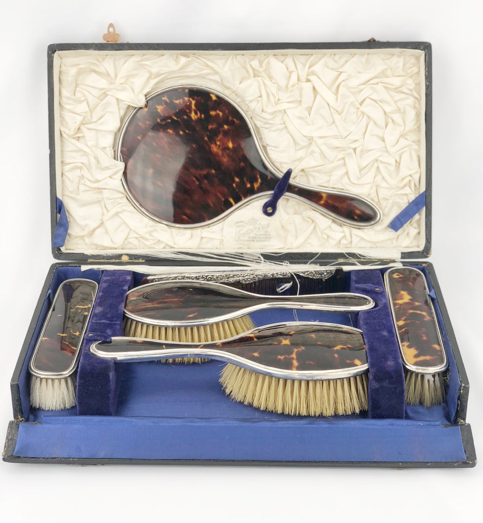 Estate Collection Antique English Sterling & Tortoiseshell Vanity Set