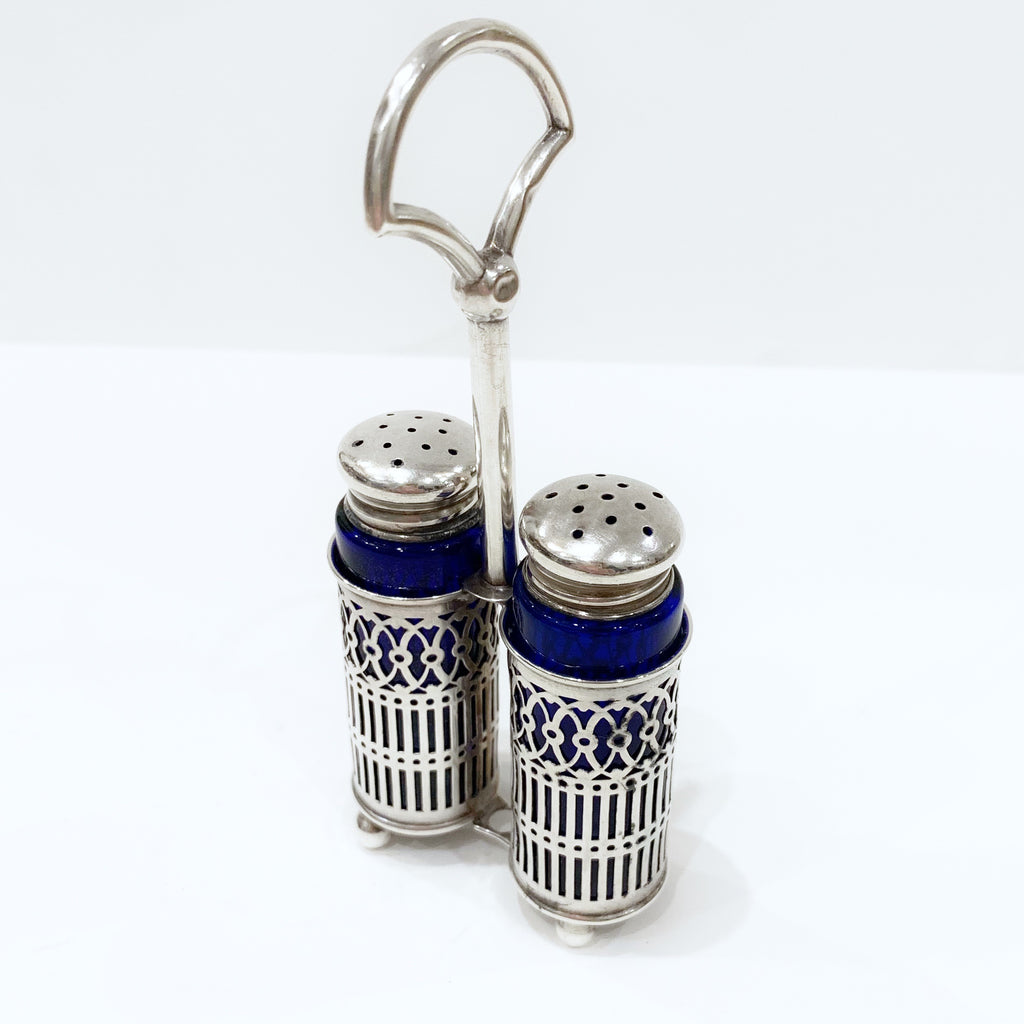 Estate Collection Sterling - Salt & Pepper Shakers Cobalt & Sterling