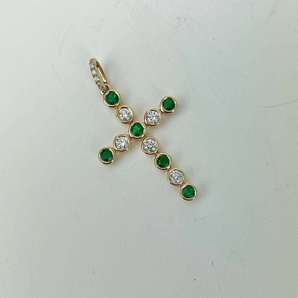 Estate Collection Pendant Cross 14K Emerald and Diamond