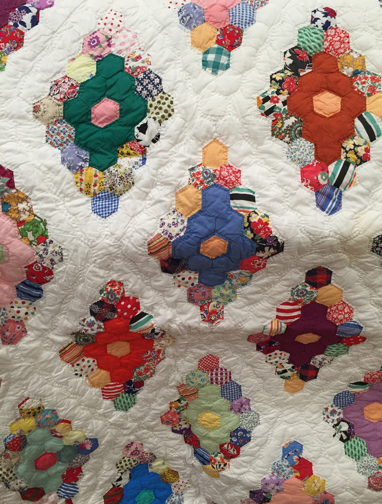 Estate Collection Quilt -Fabulous Feedsack Vintage 30's Jewel Box Flower Garden Quilt