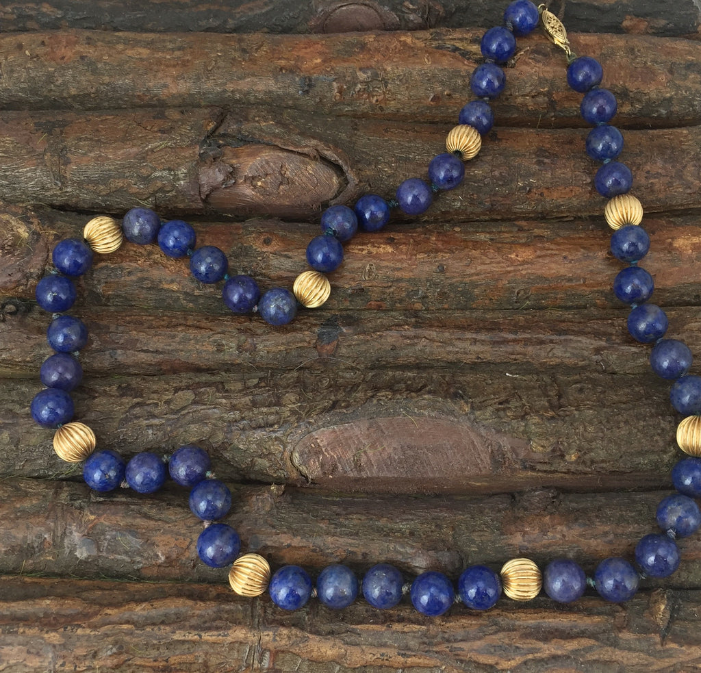 Estate Collection 14 K Gold Fluted Beads w/Lapis Beads Appraised at $2500
