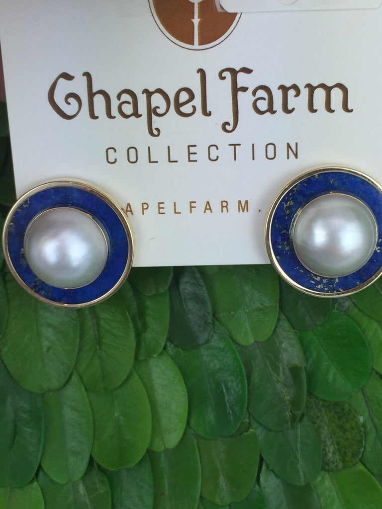 Estate Collection Lapis and Mabe Pearl Earrings Set in 14K Gold