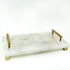 White Quartz Cheese Tray w/Brass Handles