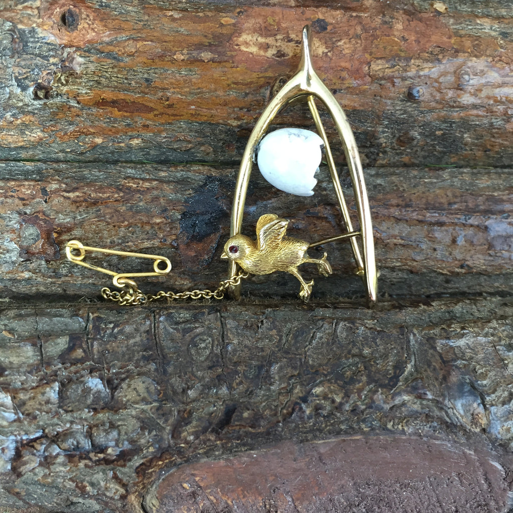 Estate Collection Late Victorian 9ct Gold Chick, Egg and Wishbone Brooch