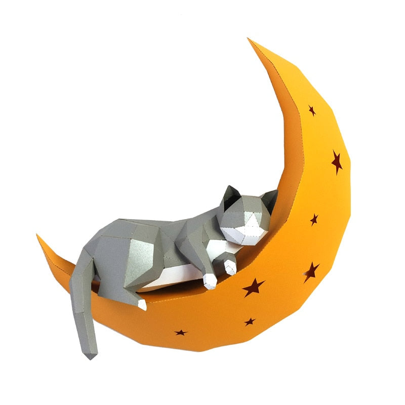 3D Cat On Moon