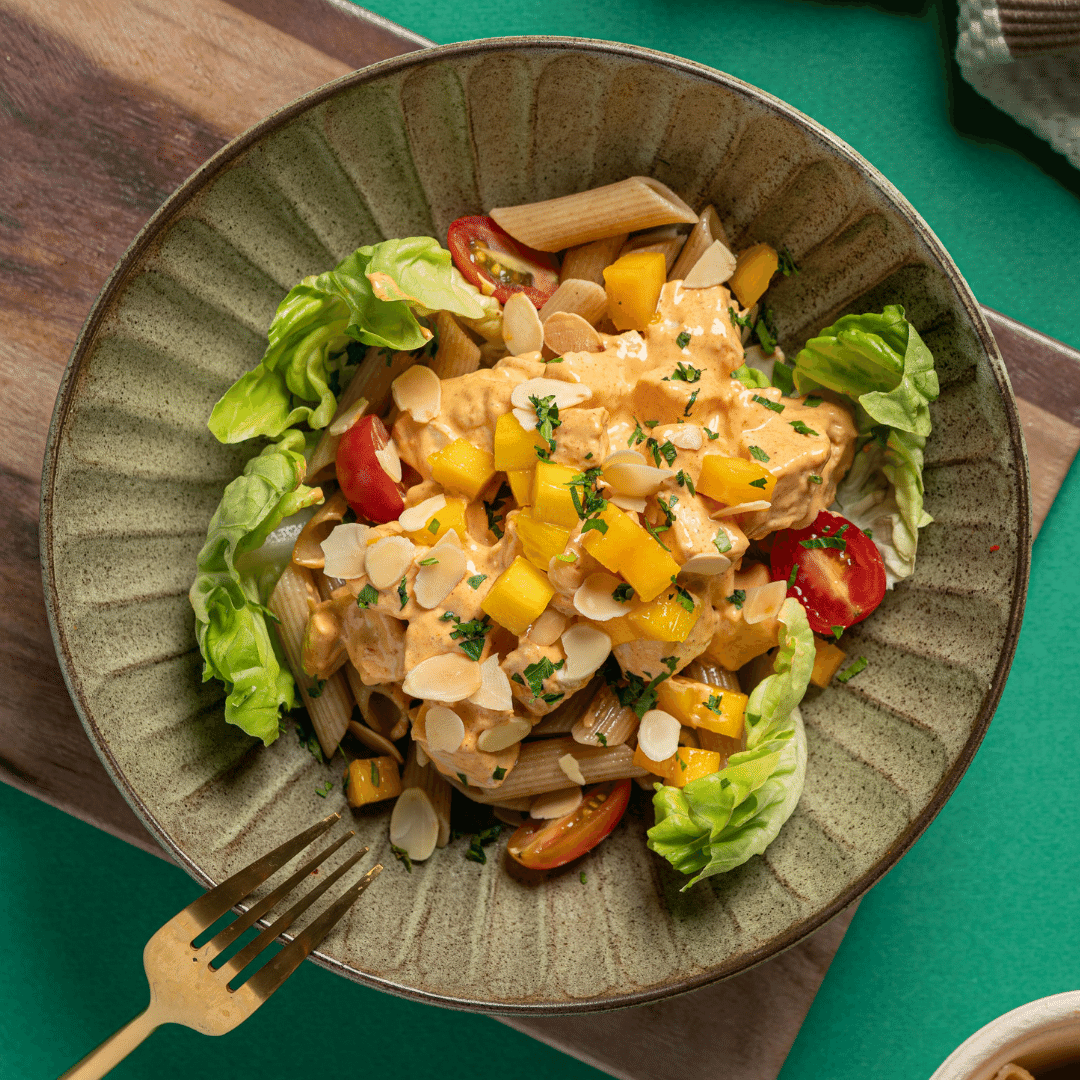 Coronation Chicken Salad with Mango, Almonds & Butter Lettuce (Whole Wheat Penne Pasta)