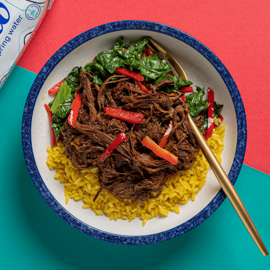 Braised Beef Rendang with Sautéed Chinese Mustard Greens (Turmeric Coconut Rice)