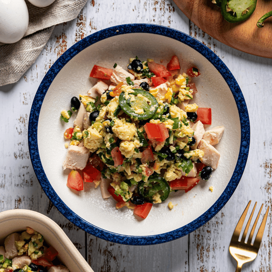 Southwest Scrambled Eggs with Scallions, Tomato, Black Beans & Chicken Breast