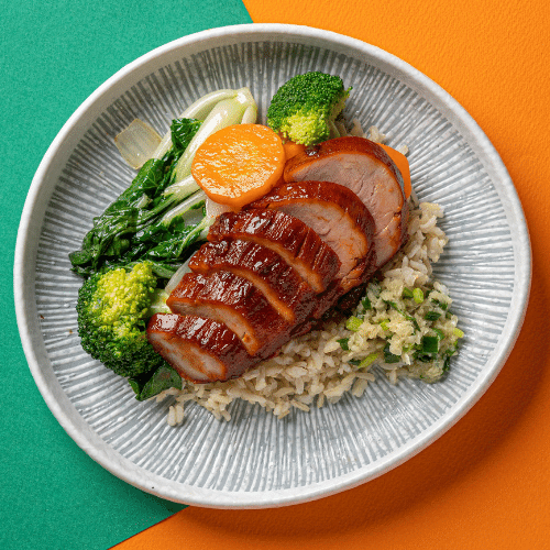 Char Siu Roasted Pork Tenderloin with Seasonal Vegetables, Ginger & Scallions (Brown Rice)