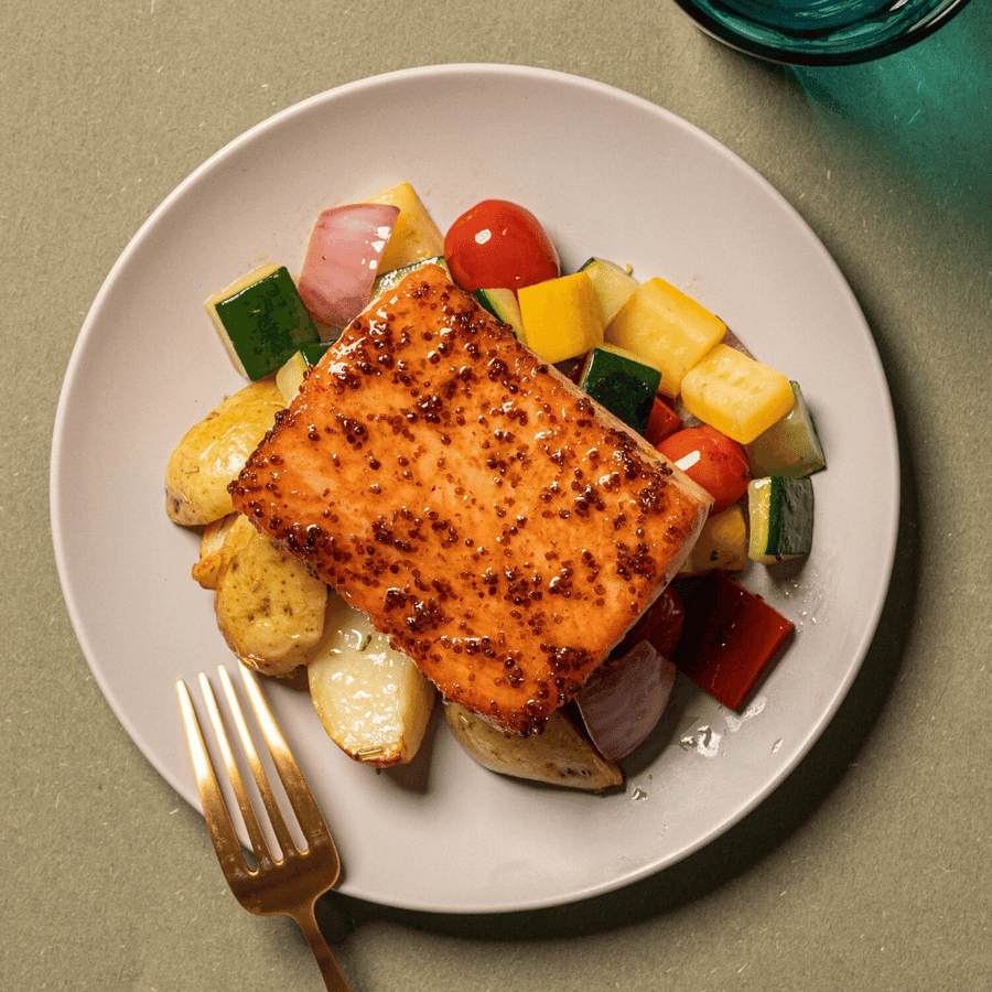 Pan Seared Honey Mustard Salmon with Roasted Courgette, Red Peppers & Cherry Tomatoes (Roasted Potatoes)