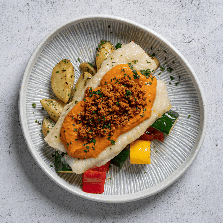 Roasted Sole Fish with Chorizo, Roasted Zucchini, Peppers, Tomato & Romesco Sauce (Roasted Potatoes)