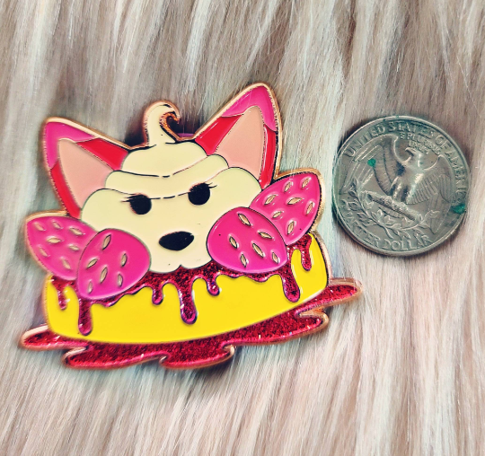 Strawberry Fox-Cake Pins