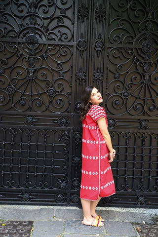 A cochineal red DREAM!!   A traditional San Juan huipil Kaftan