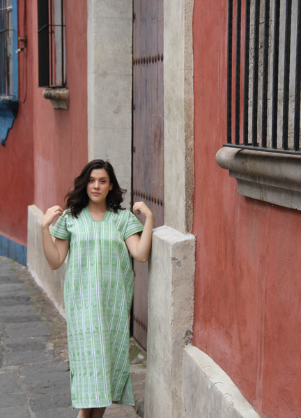 A Chartreuse green traditional Heirloom piece!   A traditional San Juan huipil Kaftan