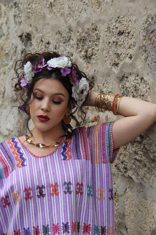 A purple and and natural white cotton Heirloom Kaftan!  A traditional San Juan huipil work of art