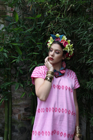 A Pink and natural white cotton Heirloom Kaftan!  A traditional San Juan huipil work of art