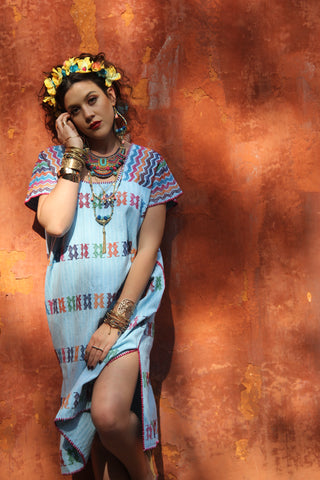 A beautiful Aqua Turquoise  and natural white cotton Heirloom Kaftan!  A traditional San Juan huipil work of art