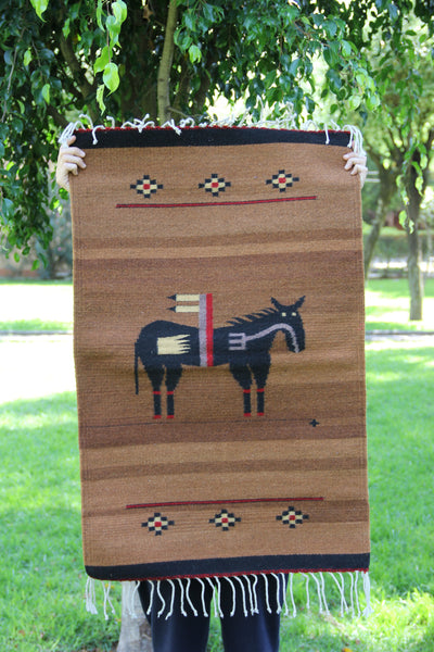 Brown Horse Handwoven Mexican Wool Rug