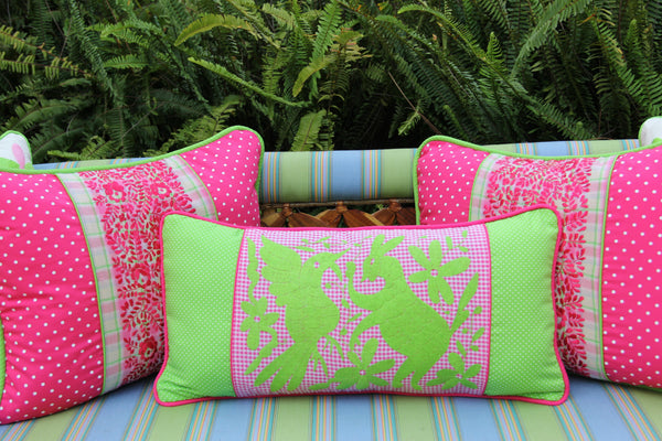 "Polka dots and Fuchsia Gingham hand embroidered Otomi Sham Scarlett ""O"" collection"