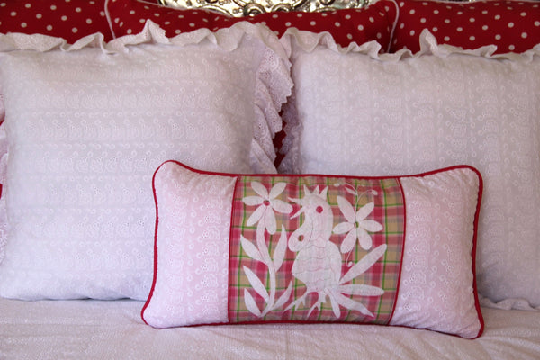 "Sweet White eyelet  and  hand embroidered Otomi Sham Scarlett ""O"" collection"